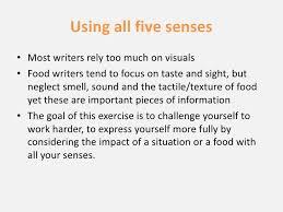 writing all five senses ifbc  2 using all five senses<br