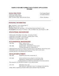 Free Resume For Students Free Sample Full Block Resume Format Style