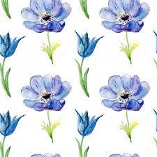 青い夏の花水彩画イラストでシームレスな壁紙 ストック写真 Olies