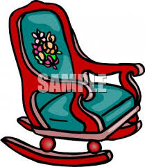 rocking chair clipart. picture of a rocking chair with padded cushions in vector clip art illustration - royalty free clipart