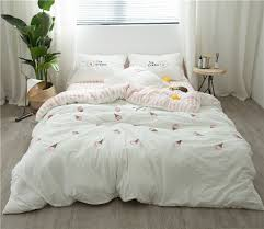 4pcs washed cotton simple fresh ice cream bedding set embroidery yarn dyed duvet cover set bedsheet