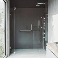 vigo pirouette 42 in to 48 in frameless brushed nickel hinged shower door