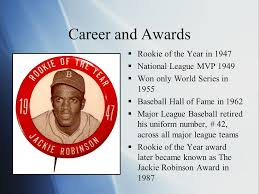 Image result for the Rookie of the Year, Jackie Robinson