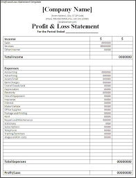 Profit Loss Statement For Self Employed Loss Template Magdalene Project Org