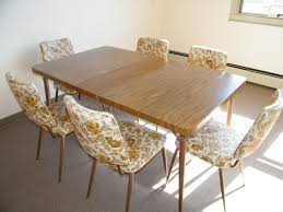 vine mid century modern 1960s formica faux wood kitchen table with 6 fl chairs you