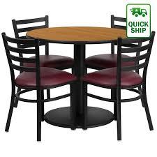 laminate table set natural table w burdy vinyl slat back chair
