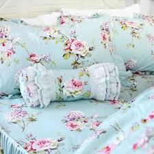 shabby blue fl ruffle bedding set vintage elegant french country style teal cotton duvet cover covers country style bedding sets french duvet