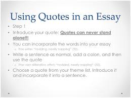 How To Write A Quote Interesting How To Put A Quote In An Essay Using Quotes In An Essay Introduction