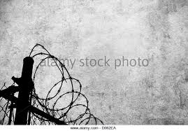 A Grunge Parchment With Barbed Wire Fencing To Show Access Restrictions  Stock Image