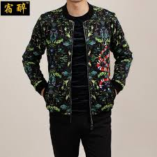 whole hangover snakes dark green fl pattern fashion mens jackets and coats 2016 autumn european style quality jacket men m 5xl white jeans leather