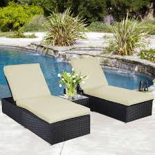 picture of outdoor chaise lounge chair patio furniture set wicker rattan black 3 piece