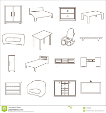Home Furniture Types Outline Icons Set Eps10 Stock Vector Image