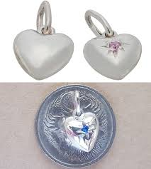 pendant or charm tiny puff heart sterling silver or 9ct gold