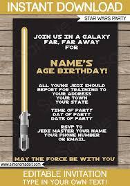 star wars birthday invite template star wars invitation template gold star wars invitations editable