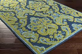 surya skye ske 4013 cobalt forest sky blue lime area rug