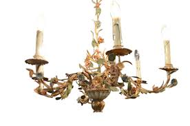 french 19th century painted iron six light chandelier with tole flowers and vines