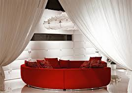what curtain color goes with red sofa