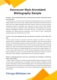 Vancouver Style Annotated Bibliography Sample