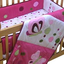 decorative mini crib bedding set for baby girl with hot pink polka dots pattern per pad