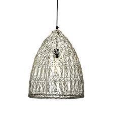 crochet wire pendant lamp
