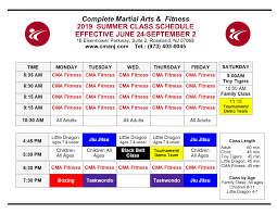 Summer Class Schedule Cma