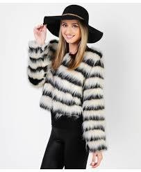 striped gy faux fur jacket