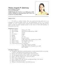 Resume Samples Philippines Inspirational Simple Nurse Resume Format