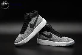 nike shoes 2016 high tops. 2016 latest nike air force 1 flyknit mens high tops shoes gray black white