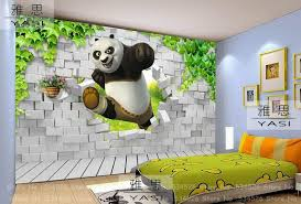 ... Kids Rooms, Panda 3d Wallpaper Nice Amazing Bed Picture Strips Pattern  Pilliow Break The Bricks ...