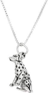 Sterling Silver Three Dimensional <b>Dalmatian Dog</b> Necklace Pendants