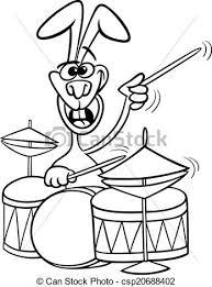 bunny with drums cartoon coloring book csp20688402