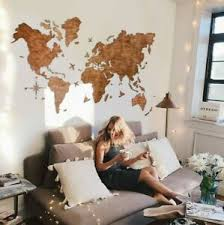 Details About Wall Art Decor Wood Decoration Home Wood World Map Office Wall Decor Art L Size