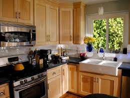 One Wall Kitchen Layout One Wall Kitchen Layout With Bold Brown Cabinet Refacing And