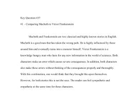 comparing macbeth to victor frankenstein a level english  document image preview