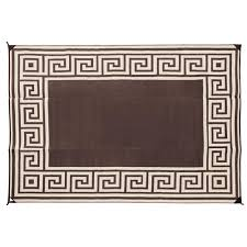 reversible greek design patio mat 9 x 12 coffee brown