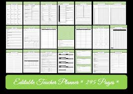 Green Editable Teacher Planner Instant Download