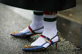 gucci shoes. paris fashion week fall 2017 street style: gucci shoes and socks