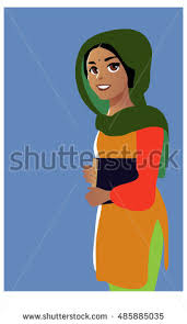 young indian with textbook cartoon style vector ilration