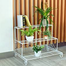 lwjjhj flower stand 3 tier metal garden plant pot display shelf stand flower patio deck in