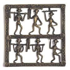 bronze tribal wall art hanging 6 men holding wood in diffe ways