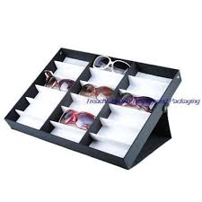 storage display case box for eyeglass sunglass glasses optical frames tray 18pcs