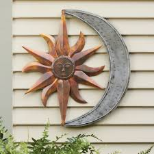 Sun Moon Outdoor Metal Wall Art Decor And Sculptures Silver Stainless Steel  Modern Plants Flowers Multi