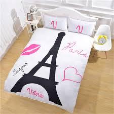 xglife paris eiffel tower bedding set black and white bed set romantic red lips print quilt