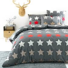 stars printed cotton duvet cover charcoal grey la redoute interieurs la redoute