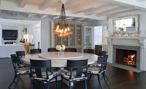 custom headlamp chandelier custom whitewashed round dining table lazy susanbeach style dining room new york