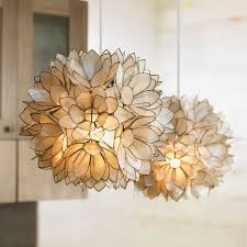 capiz shell lighting fixtures. lotus flower chandelier artisans assemble handcut capiz shells edged in metal shell lighting fixtures m