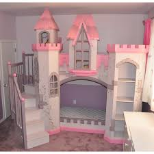 Wonderful Little Girls Bedroom Decors With Cool Castle Princess Bed With  Stairs Added White Study Desk In Small Space Bedroom Designs