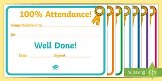 Attendance Award Template 100percent Attendance Award 100percent Attendance Award