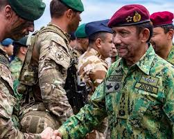 his majesty the sultan of brunei shakes hands with marine sean phipps of 40 mando royal marines