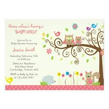 Free Customization Cute Pink Owl Girl Baby Shower Invitation